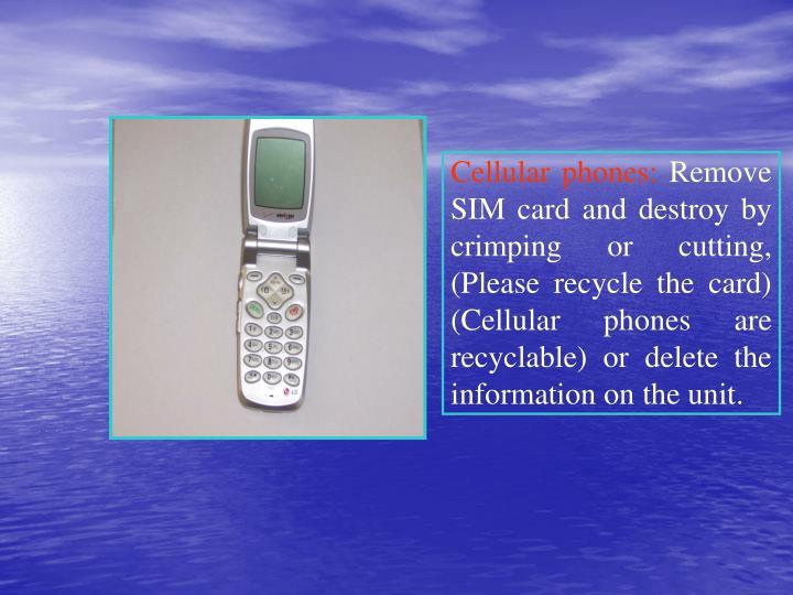 Cellular phones: