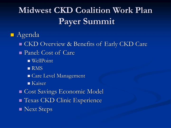 Midwest CKD Coalition Work Plan