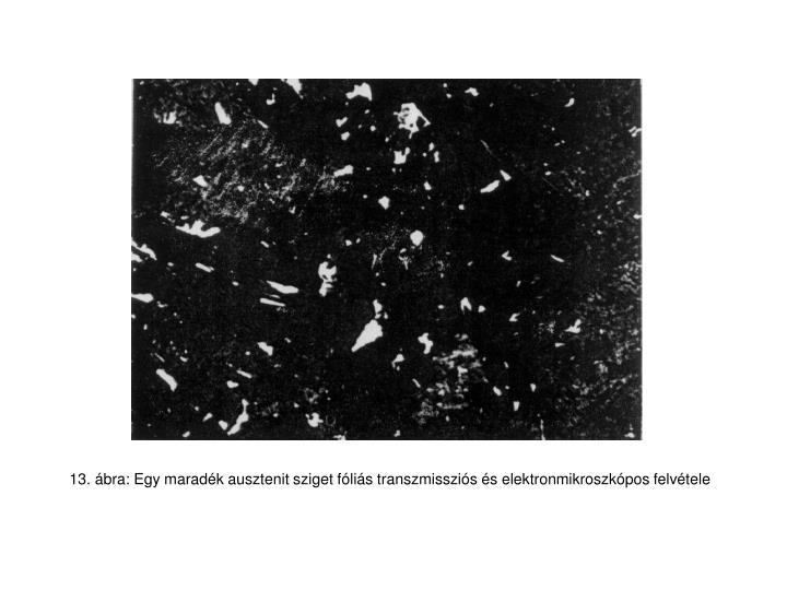 13. ábra: Egy maradék ausztenit sziget fóliás transzmissziós és elektronmikroszkópos felvétele
