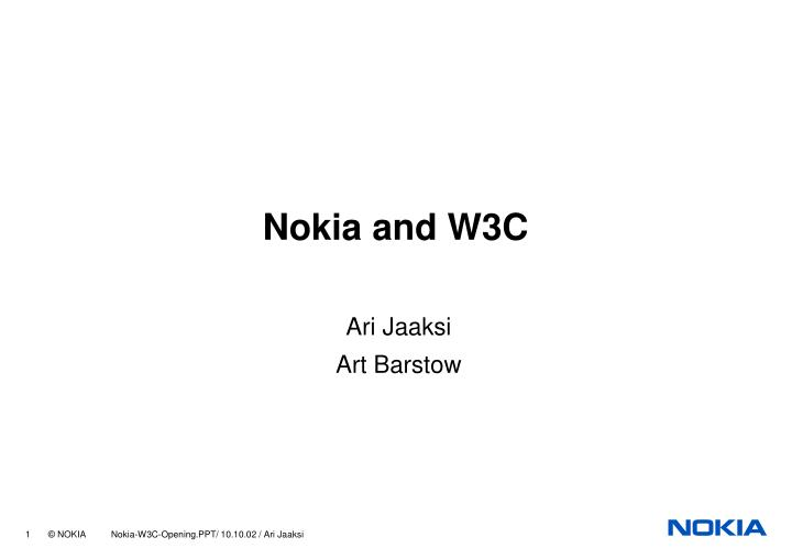 Nokia and w3c