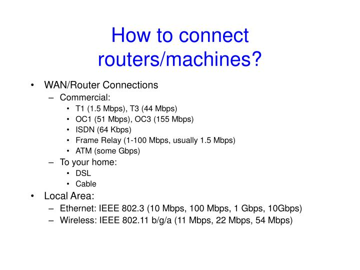 How to connect routers/machines?