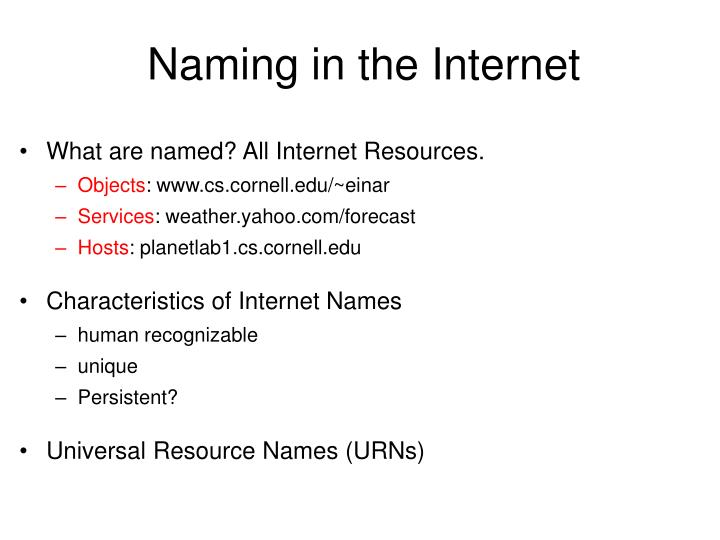 Naming in the Internet