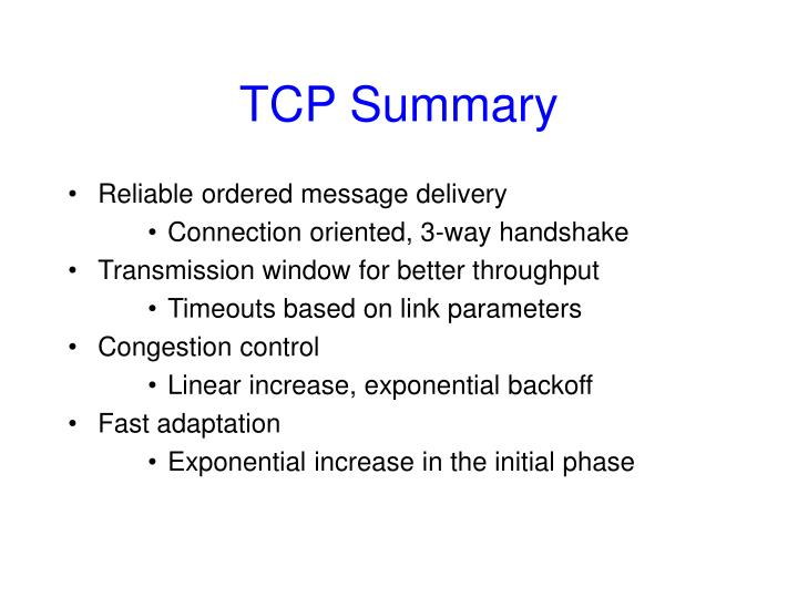 TCP Summary