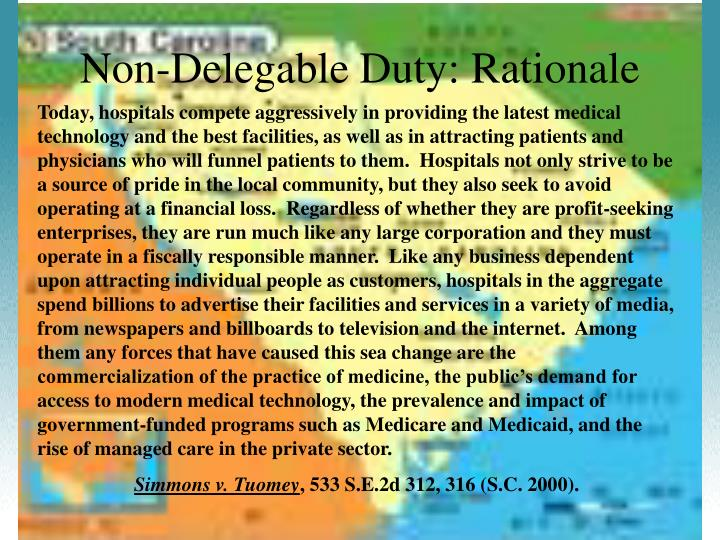 Non-Delegable Duty: Rationale