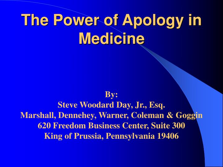 The Power of Apology in Medicine