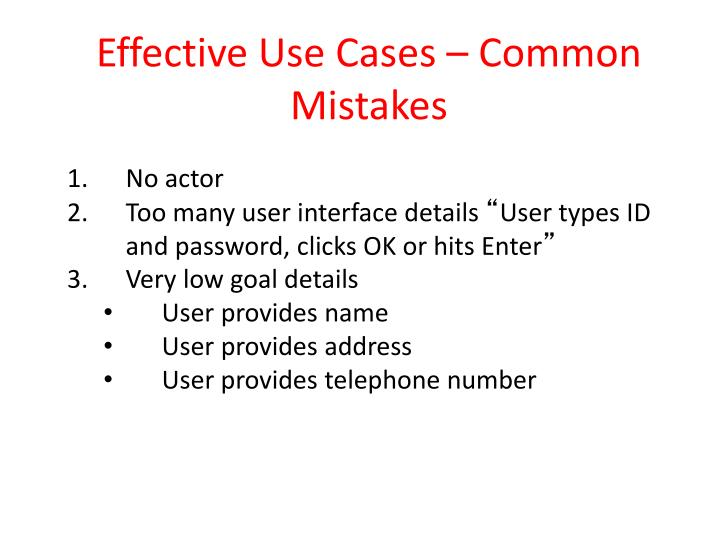 Effective Use Cases – Common Mistakes