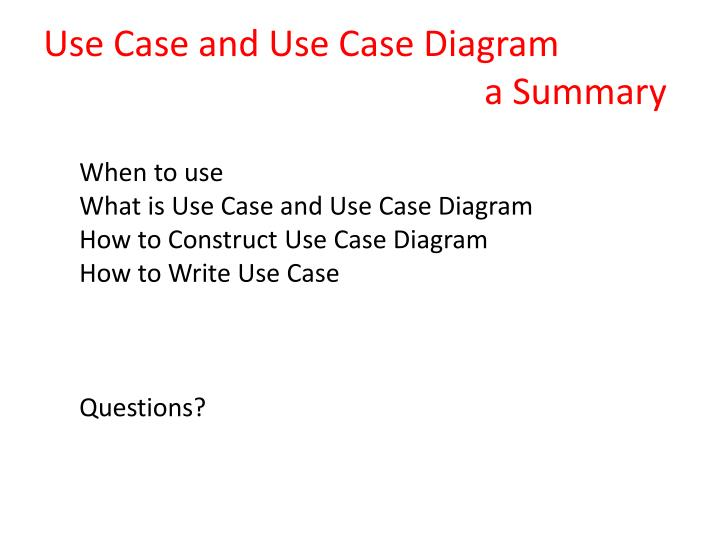 Use Case and Use Case Diagram
