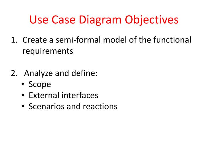 Use Case Diagram Objectives