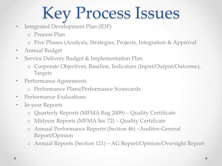 Key Process Issues