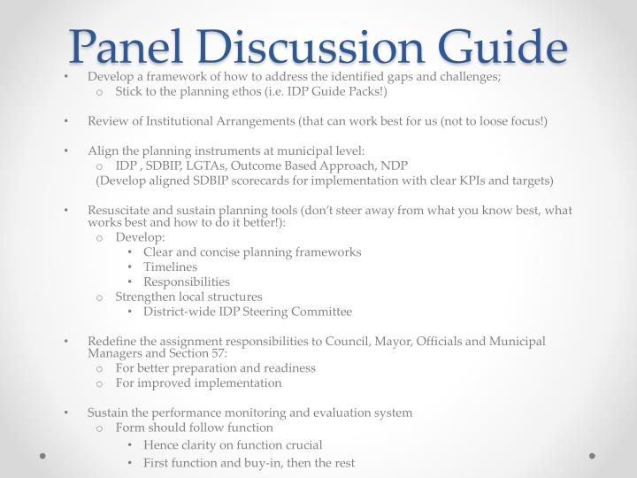 Panel Discussion Guide