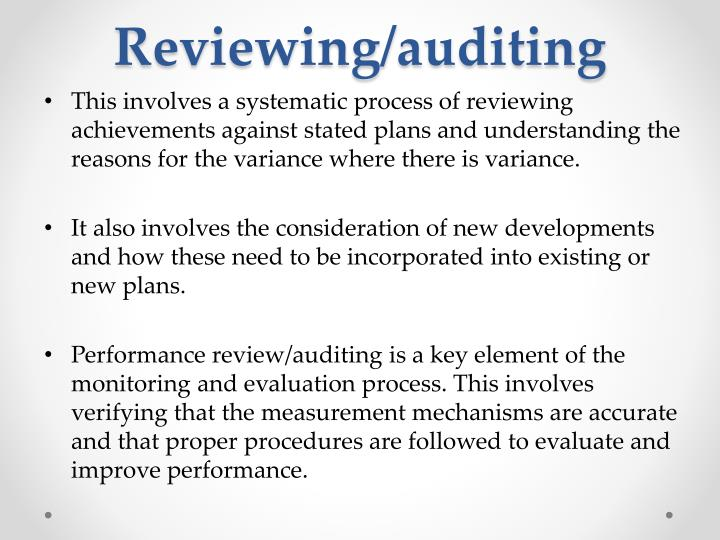 Reviewing/auditing