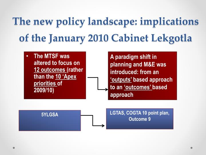 The new policy landscape: implications of the January 2010 Cabinet Lekgotla