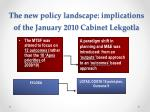 the new policy landscape implications of the january 2010 cabinet lekgotla