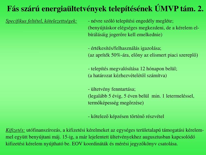 Fás szárú energiaültetvények telepítésének ÚMVP tám. 2.