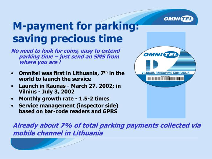 M-payment for parking: saving precious time