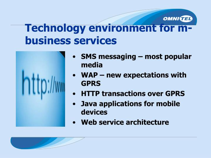 Technology environment for m-business services