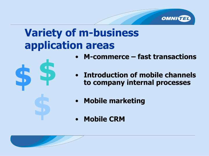 Variety of m-business application areas
