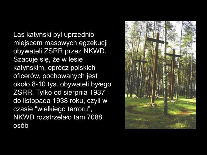 """Las katyński był uprzednio miejscem masowych egzekucji obywateli ZSRR przez NKWD. Szacuje się, że w lesie katyńskim, oprócz polskich oficerów, pochowanych jest około 8-10 tys. obywateli byłego ZSRR. Tylko od sierpnia 1937 do listopada 1938 roku, czyli w czasie """"wielkiego terroru"""", NKWD rozstrzelało tam 7088 osób"""