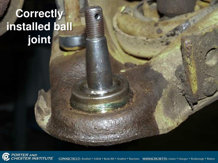 Correctly installed ball joint
