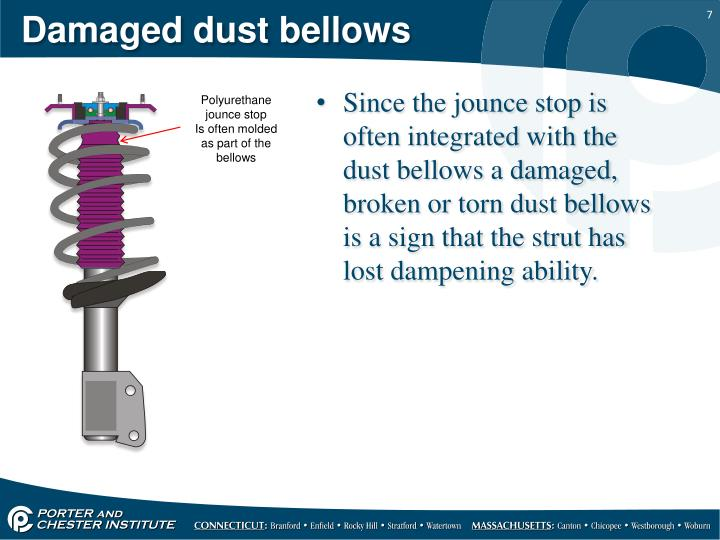 Damaged dust bellows