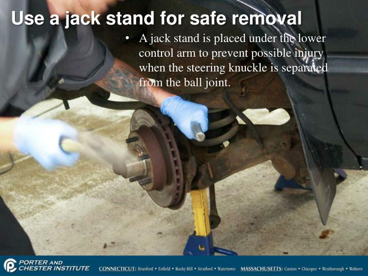 Use a jack stand for safe removal