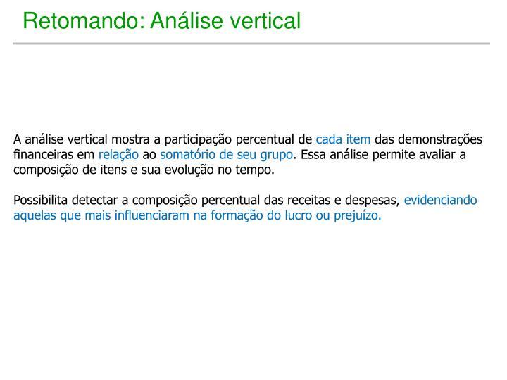 Retomando: Análise vertical