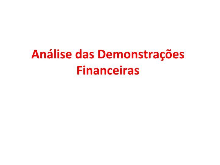Análise das Demonstrações F