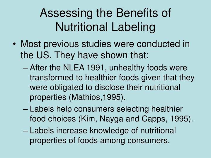 Assessing the Benefits of Nutritional Labeling