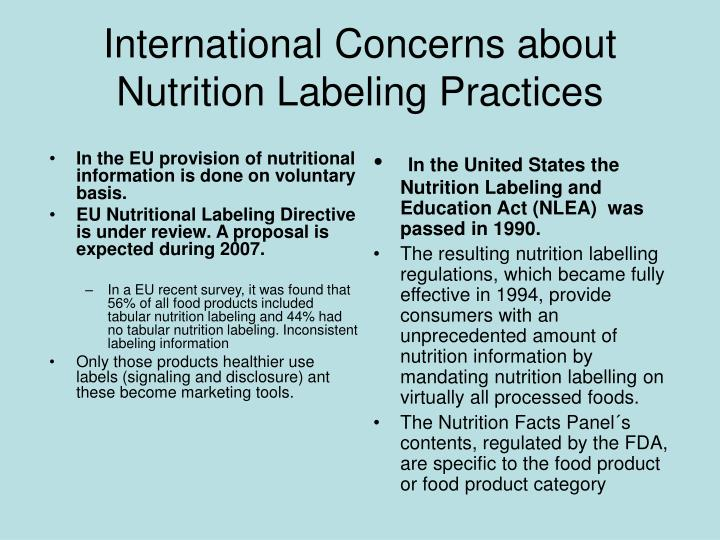 In the EU provision of nutritional information is done on voluntary basis.
