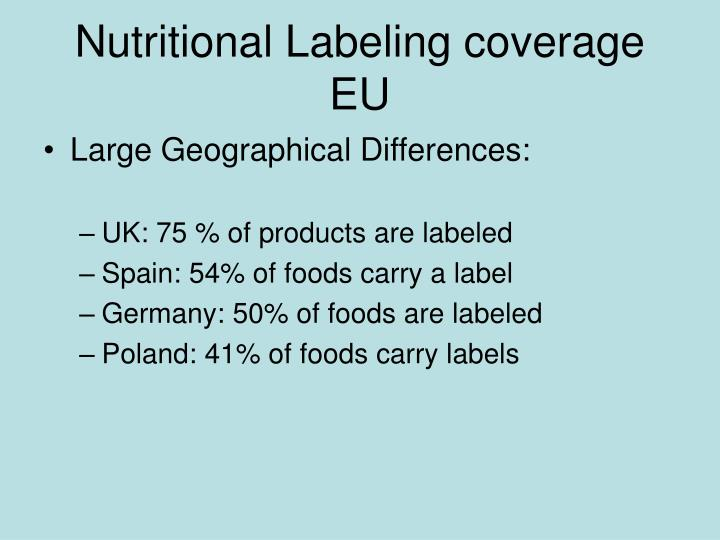 Nutritional Labeling coverage EU