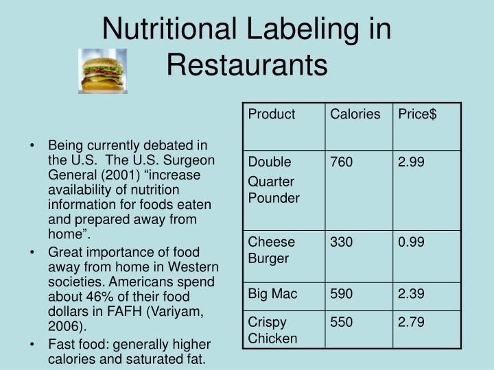 Nutritional Labeling in Restaurants