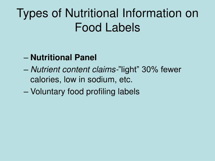 Types of Nutritional Information on Food Labels
