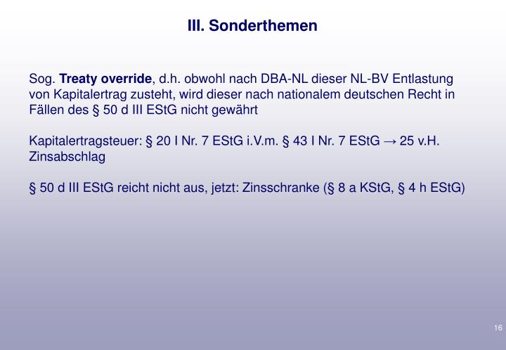 III. Sonderthemen