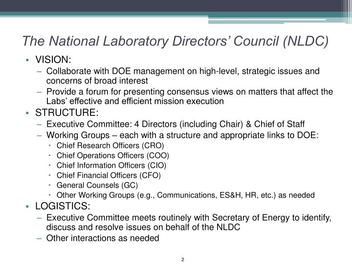 The national laboratory directors council nldc
