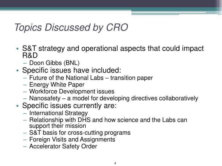 Topics Discussed by CRO