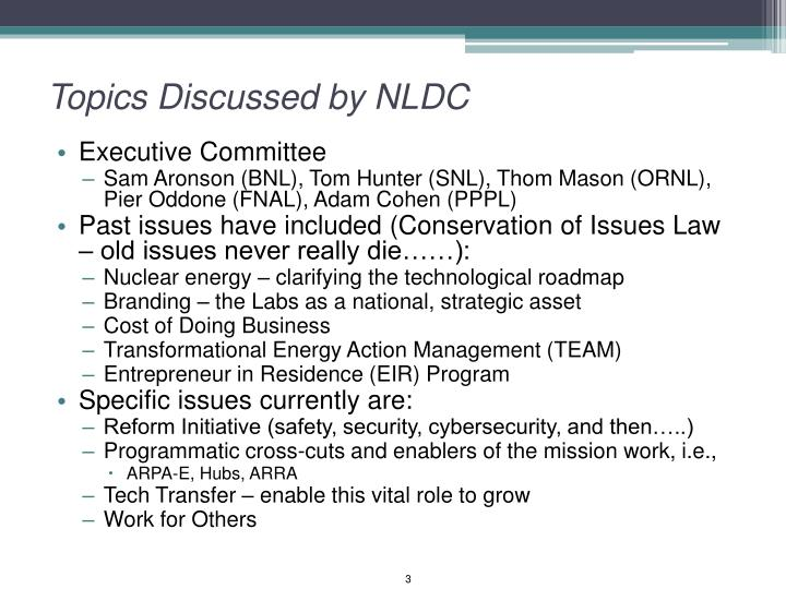 Topics discussed by nldc