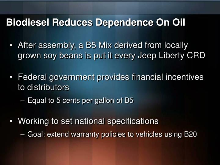 Biodiesel Reduces Dependence On Oil