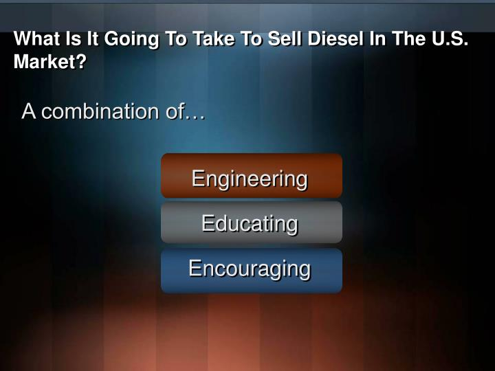 What Is It Going To Take To Sell Diesel In The U.S. Market?