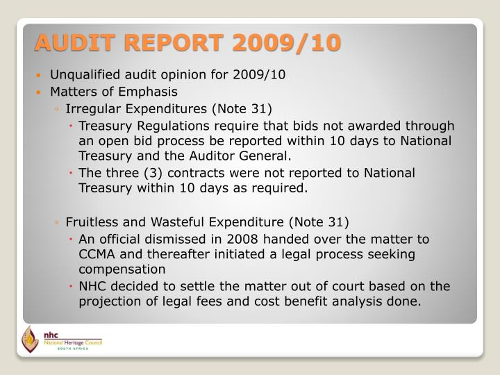 Unqualified audit opinion for 2009/10
