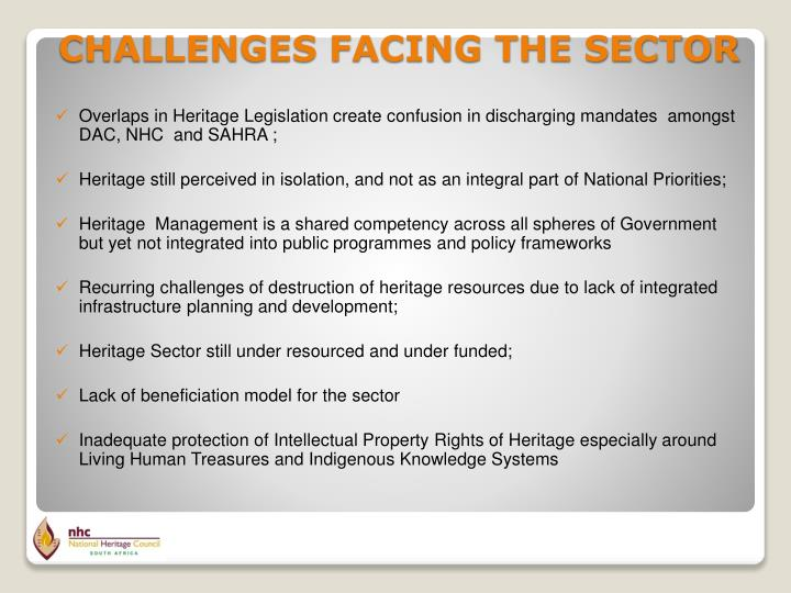 Overlaps in Heritage Legislation create confusion in discharging mandates  amongst DAC, NHC  and SAHRA ;