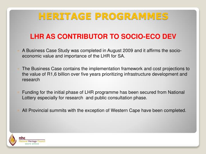 LHR AS CONTRIBUTOR TO SOCIO-ECO DEV