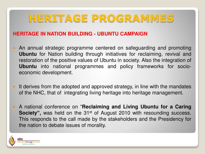 HERITAGE IN NATION BUILDING - UBUNTU CAMPAIGN