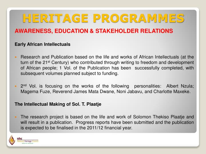 AWARENESS, EDUCATION & STAKEHOLDER RELATIONS