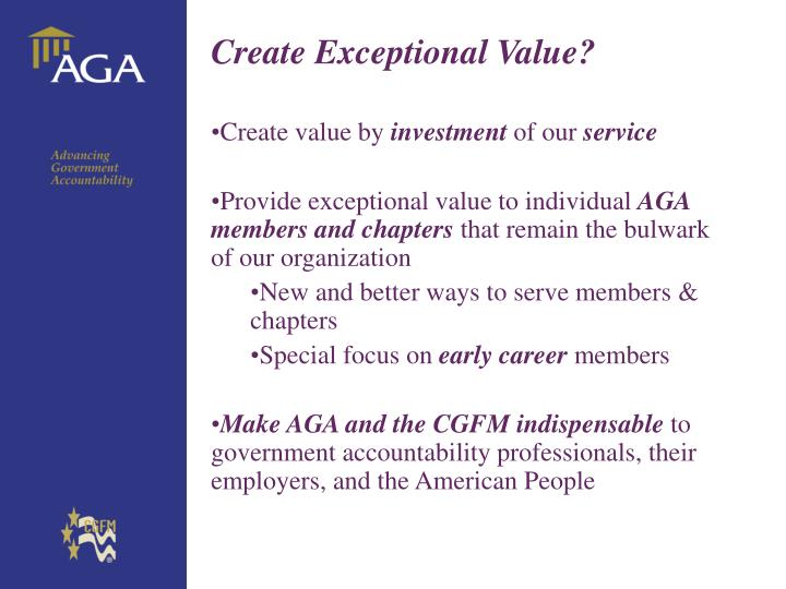 Create Exceptional Value?