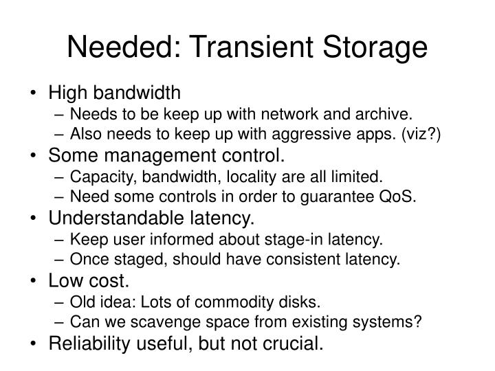 Needed: Transient Storage
