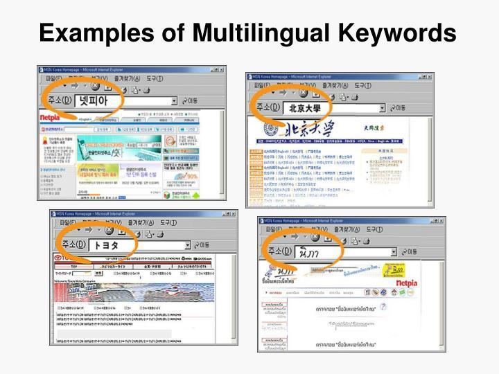 Examples of Multilingual Keywords
