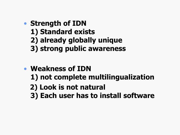 Strength of IDN