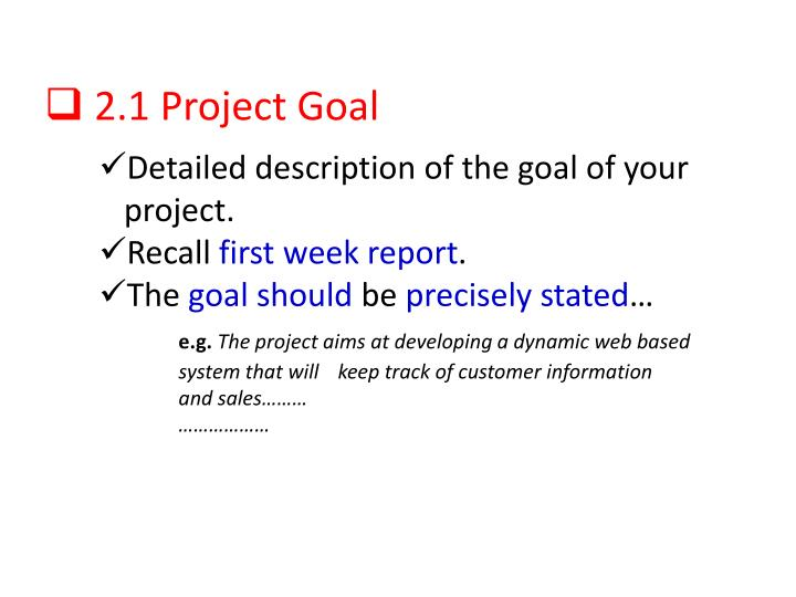 2.1 Project Goal