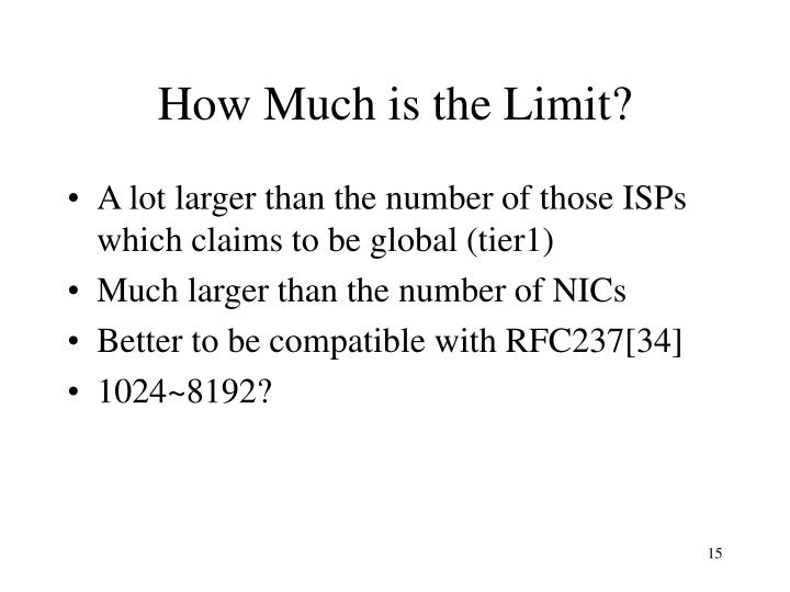 How Much is the Limit?
