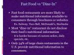 fast food vs dine in